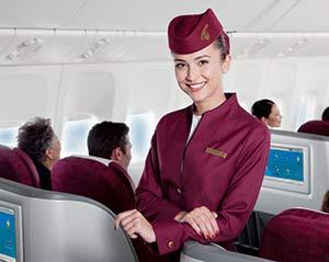 Cabin crew van Qatar Airways