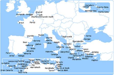 Alle bestemmingen van Jetairfly